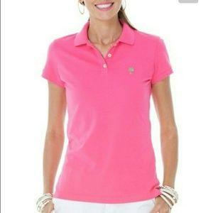 Lilly Pulitzer Pink Island Golf Polo Shirt Sz XL